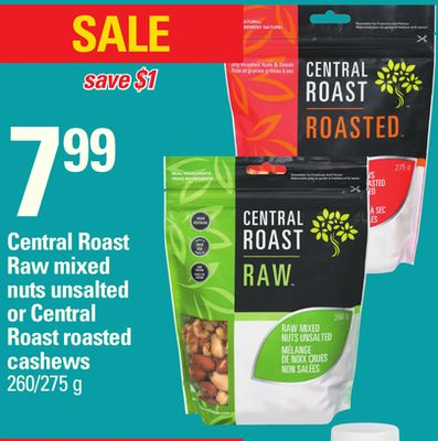 Central Roast Raw Mixed Nuts Unsalted Or Central Roast Roasted Cashews - 260/275 g