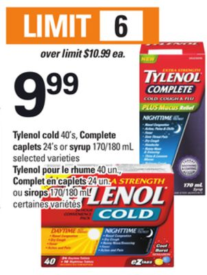 Tylenol Cold 40's - Complete Caplets 24's Or Syrup 170/180 Ml