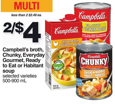 Campbell's Broth - Chunky - Everyday Gourmet - Ready To Eat Or Habitant Soup - 500-900 mL