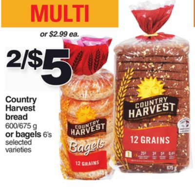 Country Harvest Bread 600/675 g or Bagels 6's