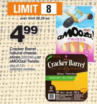 Cracker Barrel Natural Cheese Slices 220/240 g or Amooza! Twists Pkg of 12