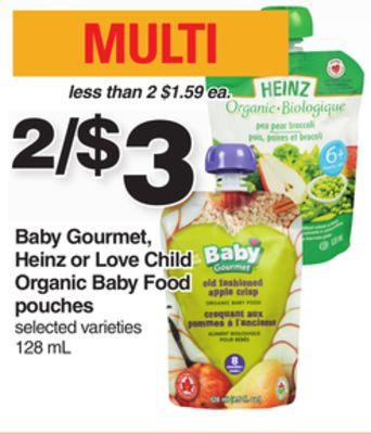 Baby Gourmet - Heinz Or Love Child Organic Baby Food Pouches - 128 mL