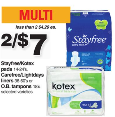 Stayfree/kotex Pads 14-24's - Carefree/lightdays Liners 36-60's Or O.b. Tampons 18's