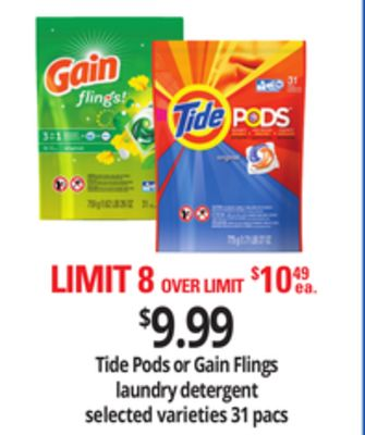 Tide PODS Or Gain Flings Laundry Detergent - 31 Pacs