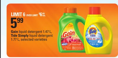 Gain Liquid Detergent - 1.47 L - Tide Simply Liquid Detergent - 1.77 L