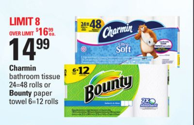 Charmin Bathroom Tissue 24=48 Rolls Or Bounty Paper Towel 6=12 Rolls