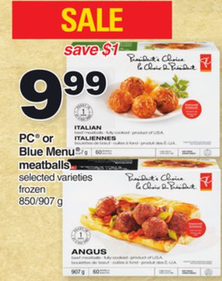 PC Or Blue Menu Meatballs - 850/907 g