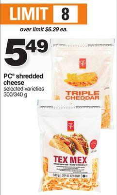 PC Shredded Cheese - 300/340 g