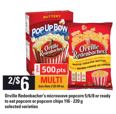 Orville Redenbacher's Microwave Popcorn 5/6/8 Or Ready To Eat Popcorn Or Popcorn Chips 116 - 220 G