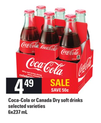 Coca-cola Or Canada Dry Soft Drinks - 6x237 Ml