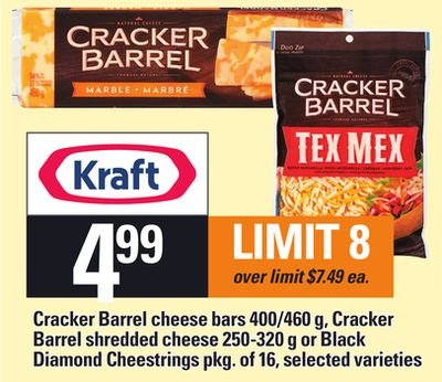 Cracker Barrel Cheese Bars - 400/460 G - Cracker Barrel Shredded Cheese - 250-320 G Or Black Diamond Cheestrings - Pkg Of 16