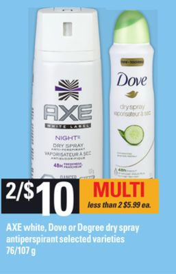 Axe White - Dove Or Degree Dry Spray Antiperspirant - 76/107 g