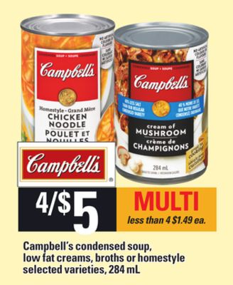 Campbell's Condensed Soup - Low Fat Creams - Broths Or Homestyle - 284 mL