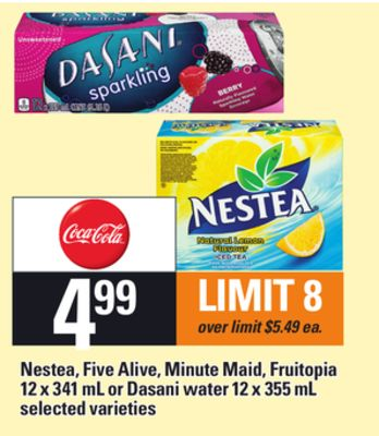 Nestea - Five Alive - Minute Maid - Fruitopia - 12 X 341 Ml Or Dasani Water - 12 X 355 Ml
