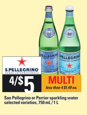 San Pellegrino Or Perrier Sparkling Water - 750 mL / 1 L