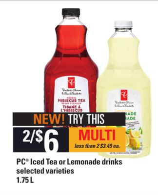 PC Iced Tea Or Lemonade Drinks - 1.75 L