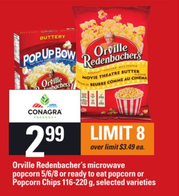Orville Redenbacher's Microwave Popcorn - 5/6/8 Or Ready To Eat Popcorn Or Popcorn Chips - 116-220 g