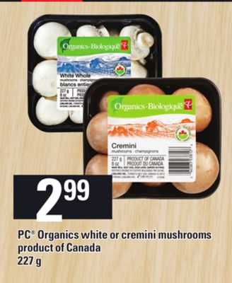 PC Organics White Or Cremini Mushrooms - 227 g