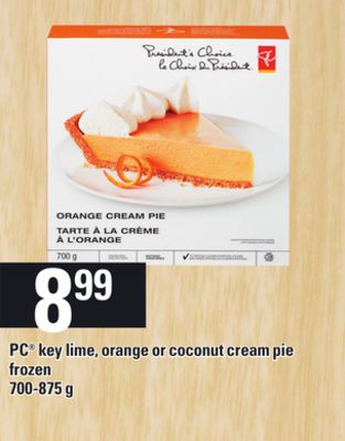 PC Key Lime - Orange Or Coconut Cream Pie - 700-875 g
