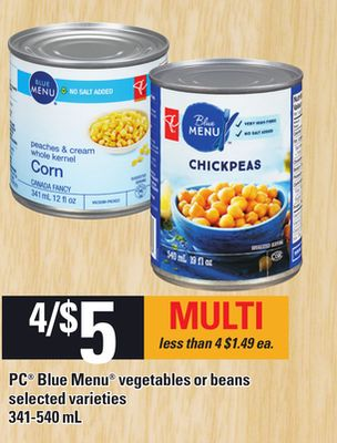 PC Blue Menu Vegetables Or Beans - 341-540 mL