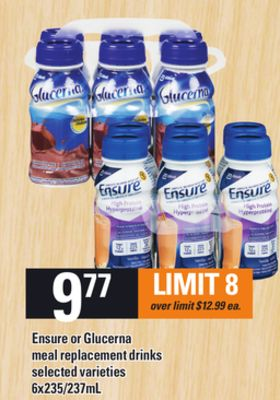 Ensure Or Glucerna Meal Replacement Drinks - 6x235/237ml