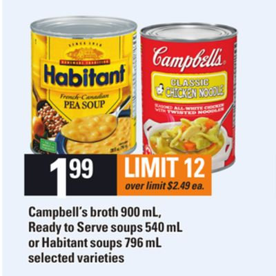 Campbell's Broth - 900 mL - Ready To Serve Soups - 540 mL Or Habitant Soups - 796 mL