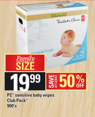 PC Sensitive Baby Wipes - 900's