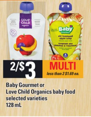 Baby Gourmet Or Love Child Organics Baby Food - 128 Ml