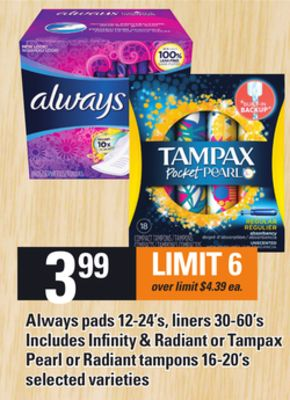 Always Pads - 12-24's - Liners - 30-60's Includes Infinity & Radiant Or Tampax Pearl Or Radiant Tampons - 16-20's