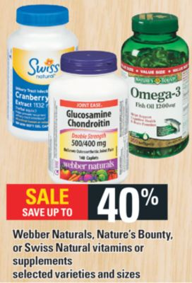 Webber Naturals - Nature's Bounty - Or Swiss Natural Vitamins Or Supplements