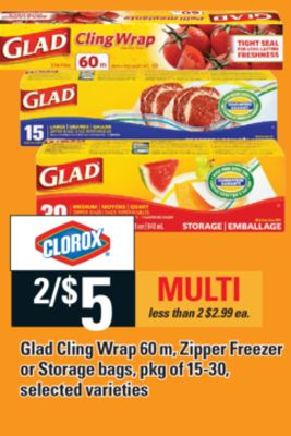 Glad Cling Wrap - 60 M - Zipper Freezer Or Storage Bags - Pkg Of 15-30