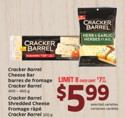 Cracker Barrel Cheese Bar - 400 – 460 g - Cracker Barrel Shredded Cheese - 320 g