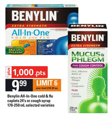 Benylin All-in-one Cold & Flu Caplets - 24's Or Cough Syrup - 170-250 Ml