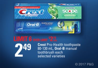 Crest Pro-health Toothpaste 80-130 mL - Oral-b Manual Toothbrush