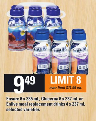 Ensure 6 X 235 Ml - Glucerna 6 X 237 Ml Or Enlive Meal Replacement Drinks 4 X 237 Ml