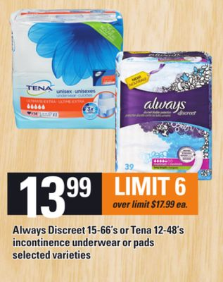 Always Discreet 15-66's Or Tena 12-48's Incontinence Underwear Or Pads