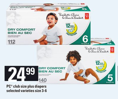 PC Club Size Plus Diapers - Size 3-6