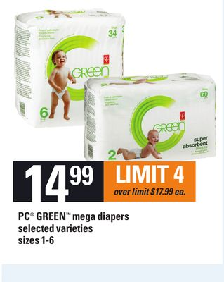 PC Green Mega Diapers - Sizes 1-6