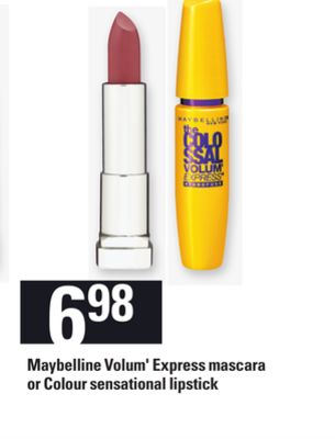 Maybelline Volum' Express Mascara Or Colour Sensational Lipstick