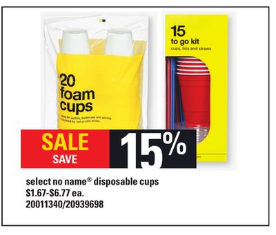 Select No Name Disposable Cups