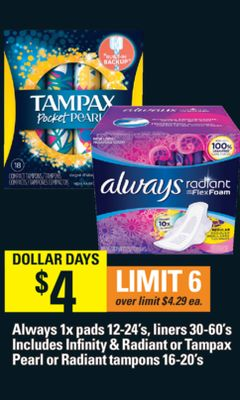 Always 1x Pads 12-24's - Liners 30-60's Includes Infinity & Radiant Or Tampax Pearl Or Radiant Tampons 16-20's