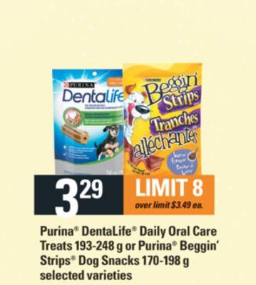 Purina Dentalife Daily Oral Care Treats - 193-248 g Or Purina Beggin' Strips Dog Snacks - 170-198 g
