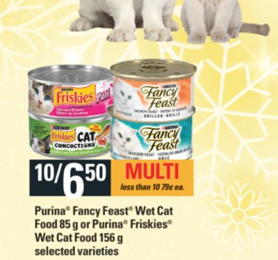 Purina Fancy Feast Wet Cat Food - 85 g Or Purina Friskies Wet Cat Food - 156 g