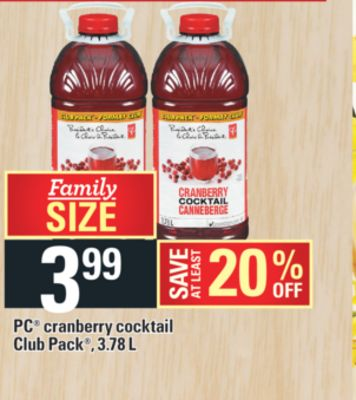 PC Cranberry Cocktail Club Pack - 3.78 L