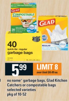 No Name Garbage Bags - Glad Kitchen Catchers Or Compostable Bags - Pkg of 10-52