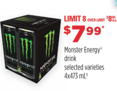 Monster Energy Drink - 4 X 473 Ml