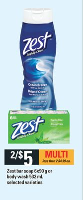 Zest Bar Soap - 6x90 g Or Body Wash - 532 mL