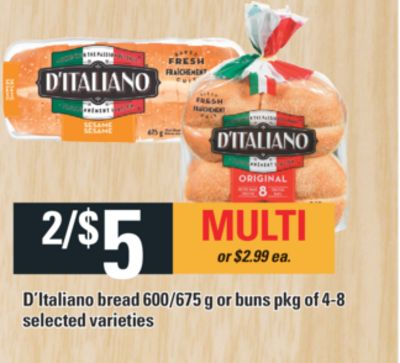 D'italiano Bread 600/675 G Or Buns Pkg Of 4-8