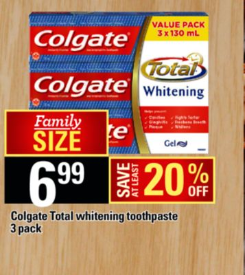 Colgate Total Whitening Toothpaste - 3 Pack