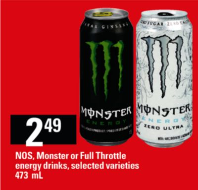 Nos - Monster Or Full Throttle Energy Drinks - 473 mL